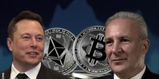 "Elon Musk says BTC, ETH prices ""high"" while dunking on Peter Schiff"